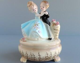 "Vintage Josef Originals ""Anniversary Waltz"" Musical Figurine, Man and Woman Couple Dancing, Music Box Figural, Made in Japan"