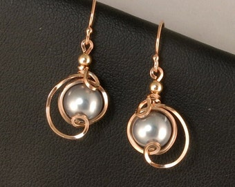 Rose Gold Gray Pearl Drop Earrings, Unique Wire Wrapped Rose Gold Gray Pearl Earrings, Rose Pink Gold Pearl Wedding Jewelry