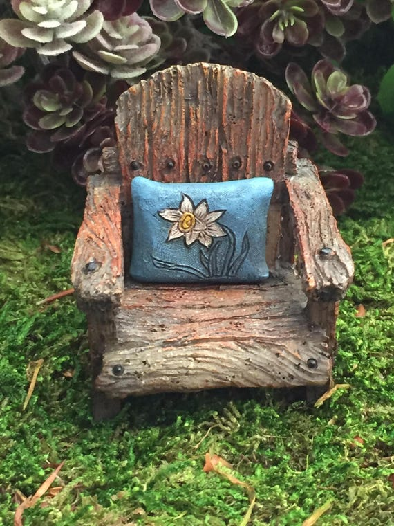 Mini Chair With Attached Daffodil Pillow, Weathered Wood Look Chair, Fairy Garden Chair, Miniature Home & Garden Decor, Blue Daffodil Pillow