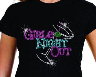 Rhinestone Tee Girls Night Out LAT Ringspun Cotton Short Sleeve