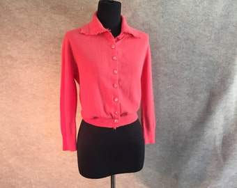 Vintage 50's Sweater, Pink Cardigan, Cropped Rockabilly 50's Sweater Girl Style, Women's Small,  Bust 36, Vegan Friendly
