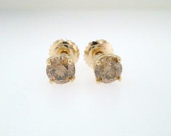 1.40 Carat Champagne Brown Diamond Stud Earrings 14K Yellow Gold Handmade
