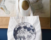 Canvas Tote Bag - Canvas Tote - Large Tote Bag - Reusable Shopping Bag - Shopping Tote - Moon Phase - Farmers Market Tote - Screen Print