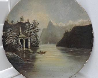 Antique VICTORIAN Oil Painting LAKE Landscape Snowy Mountains Paper Mache Flue COVER 1880s