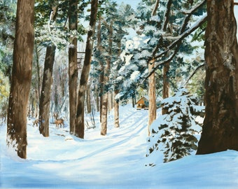 Winter Cabin- art print- 8 x 10 matted or 11 x 14 without mat