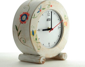 White Desk clock circle, Clock Folk Art, Table Wood Clock, Flowers ornament, Folk art for her, gift for Mother, Spring decor