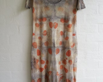 SALE Eco print wool silk jersey dress