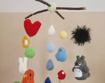 Totoro and Birds Crochet Nursery Mobile (Ready To Ship)