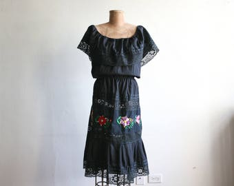 Black Embroidered Off-Shoulder Mexican Dress