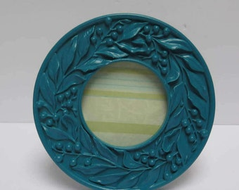 Round Dark Teal Picture Frame Painted Blue Green Lagoon Small round frame holds 3 inch picture