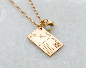 Postcard Necklace Heart 'I Love You' Friendship Vintage Brass Charm Gold Chain Gift For Her