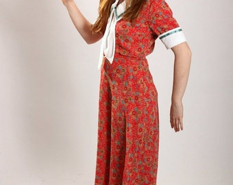 Vintage reproduction 1940s red floral nautical dress
