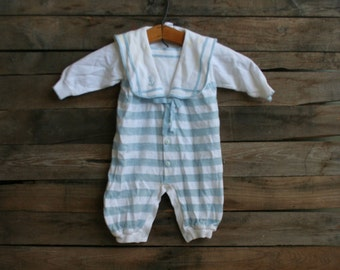 SUPER SALE - Vintage Unisex Children's Blue & White Striped Nautical Romper with Sailor Collar Made in Portugal
