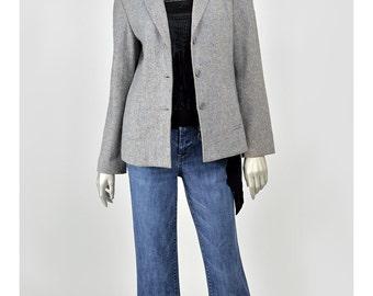 Grey Wool Blazer • Donegal Tweed Jacket • Vintage 70s Blazer Jacket • Womens Suit Jacket • Fitted Blazer • 1970s Gray Blazer • Tweed Blazer