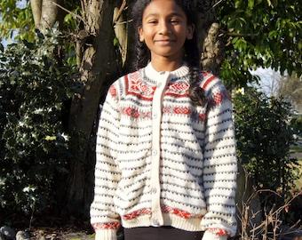 Kids Hand Knit Norwegian Wool Cardigan Sweater