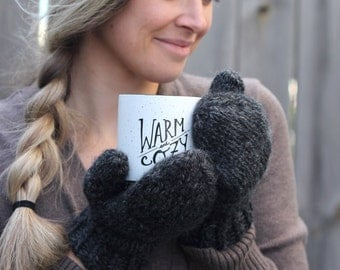 Cozy Knit Wool Mittens- Color Charcoal Grey- More colors available