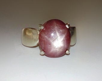 Natural Large Mauve Star Ruby In Sterling Silver Ring, 7ct , Size 7.