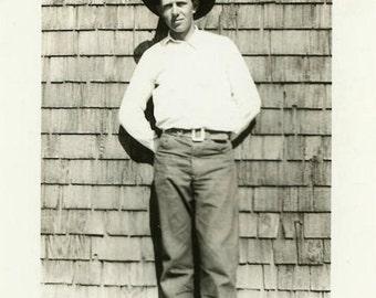 "Vintage Photo ""Handsome Montana Man"" Farm Country Snapshot Antique Photo Old Black & White Photograph Found Paper Ephemera Vernacular - 160"