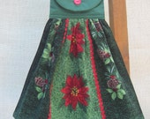 Poinsettia Christmas Kitchen Towel, Hanging Dish Towel, Red Green Kitchen Decor, Holiday Towel, Oven Towel
