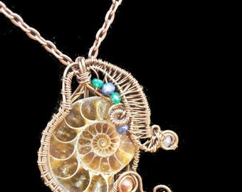 Ammonite Necklace, Fossil Pendant: Adorable Tentacled Ammonite Gemstone with Antiqued Copper Wire with Lapis, Adventurine, and Moonstone