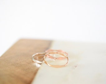 Hexagon Ring • Sterling Silver 14k Gold or Rose Gold • Geometric Stacking Jewelry • Gift for Her