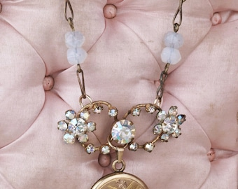 If you're a bird...  Antique assemblage gold-filled love bird locket necklace- featuring Antique Austrian Crystals, opals- One of a Kind