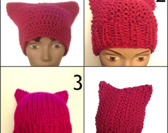 Pink Pussy Hat Crochet or Knit Handmade Women's March Pussy Hat Women Power Woman's Rights Are Human Rights