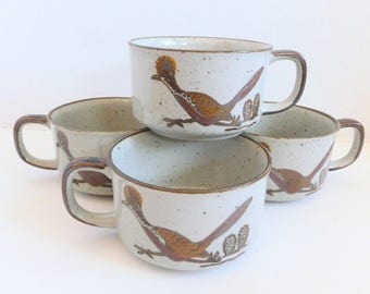 Otagiri Stoneware Soup Bowls Mugs Lot Roadrunners and Cacti Southwest Pattern