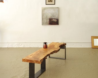 live edge table from urban salvage wood and high recycled content steel - north | west bench - modern industrial natural edge