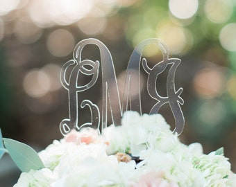 Acrylic Clear Monogram Cake Topper - Other Colors Available
