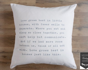 Pillow Cover-Decorative Pillows-Designer Pillow-Throw Pillow-Quote Pillow-Custom Pillow-Love Grows Best-Fall Pillow-Vintage Pillow