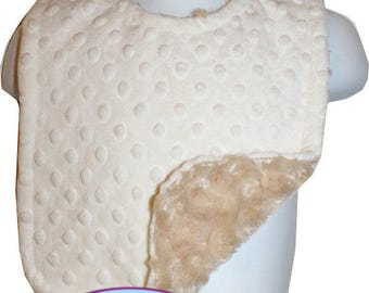 Reversible & Adjustable Baby/Toddler Minky BIb - Cream Dot/Camel Rosebud Swirl