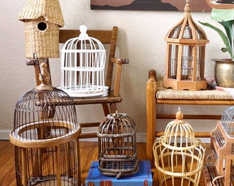 Vintage Wood Wicker Bird Cage - White Cage Only