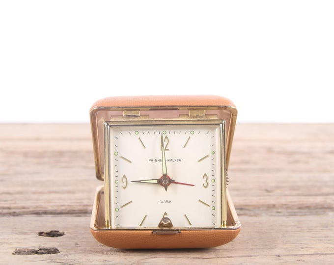 Vintage Travel Alarm Clock / Phinney Walker Clock / Small Desk Clock / Retro Travel Desk Clock / Beige Folding Clock / Mid Century Clock