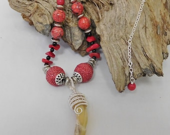 Rooster talon/spur talisman red bead necklace