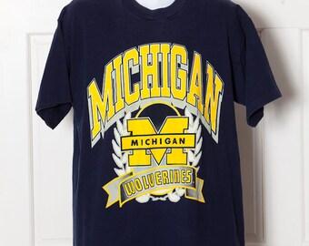 Vintage 80s 90s University Of MICHIGAN Wolverines Tshirt - XL