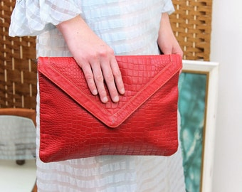 Red Crocodile Effect Leather Clutch Bag