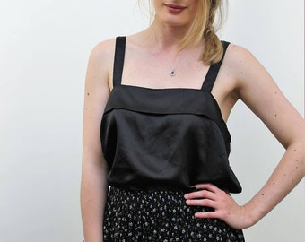 Black Silky Strappy Top Size UK 12, US 8, EU 40