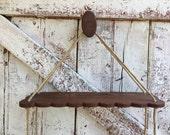 Wooden rope shelf vintage rope wall shelf scalloped wooden wall shelf watch and pray shelf