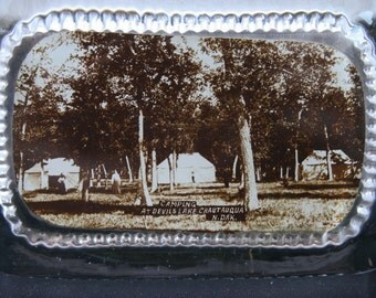 RESERVED for Becky        Glass Paper Weight, Historical Camping, Camp Lawton, Devils Lake, Chautauqua N Dakota