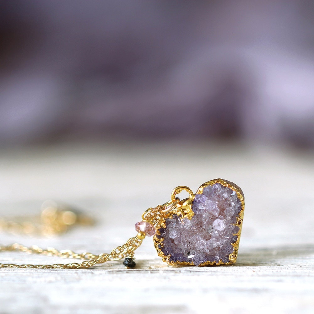 Amethyst Heart Necklace - Dainty Druzy Necklace - Valentines Day Gift - February Birthstone - Rough Diamond Necklace - Amethyst Jewellery