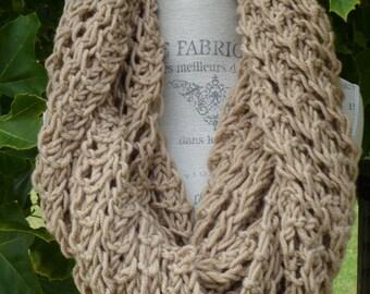Long Chunky Lace Infinity Scarf - Tan, Organic Merino Wool