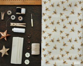 Golden Honey Bees Mini Print Fabric, Order by the Yard | Ships from USA, Free Ship Worldwide