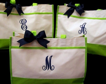 Set of 3 Monogrammed Tote Bags for Bridesmaid Gifts