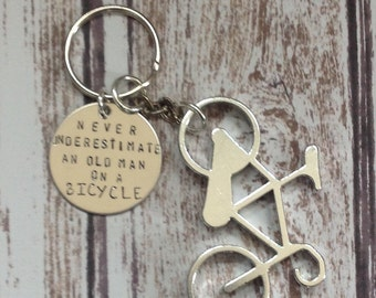 Hanging Bicycle Custom Keychain.  Old man bicycle , Silver Bicycle Jewelry.  Your own personalized statement