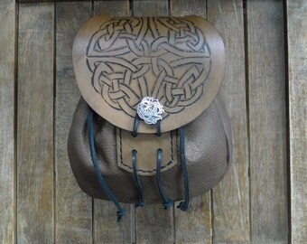 Celtic Knot Leather Sporran, Medieval Pouch, Renaissance Belt Bag, Tooled - Deluxe