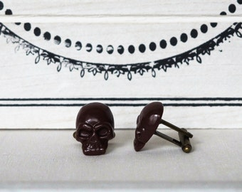 Brown Skull Cufflinks many colors Men's Cuff Links brown wedding favors groomsmens gift anniversary