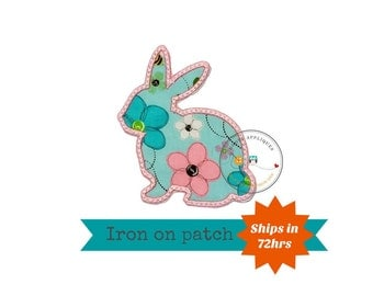 Spring color bunny sillouette iron on applique, pink and teal Easter bunny fabric iron on fish patch, ships in 72hrs, ready to ship