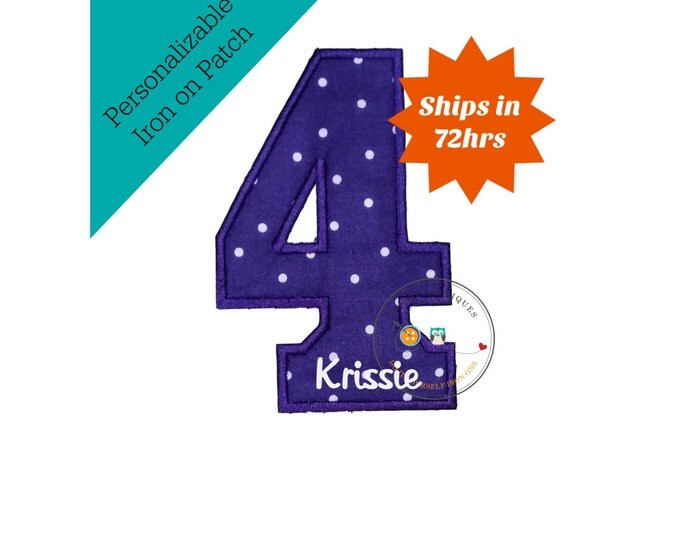 Purple with white polk a dots iron on number four, Machine embroidered fabric applique number 4, personalize number 4 patch, ready to ship