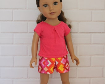 Pink T-shirt Pink Shorts Doll Clothes to fit 18 inch dolls such as Journey Girls dolls & similar slim dolls